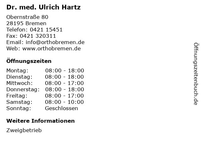 Dr. med. Ulrich Hartz in Bremen: Adresse und Öffnungszeiten
