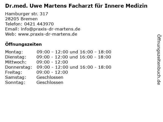Dr.med. Uwe Martens Facharzt für Innere Medizin in Bremen: Adresse und Öffnungszeiten