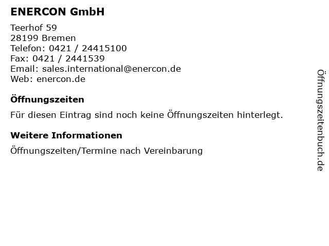 ENERCON GmbH in Bremen: Adresse und Öffnungszeiten