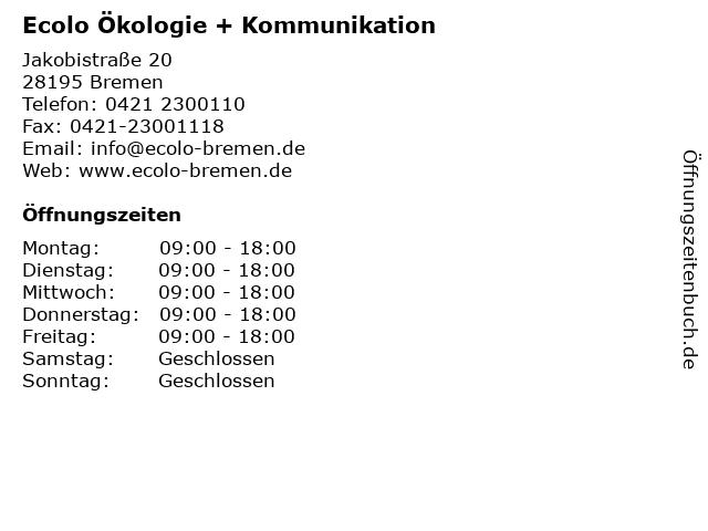 Ecolo Ökologie + Kommunikation in Bremen: Adresse und Öffnungszeiten