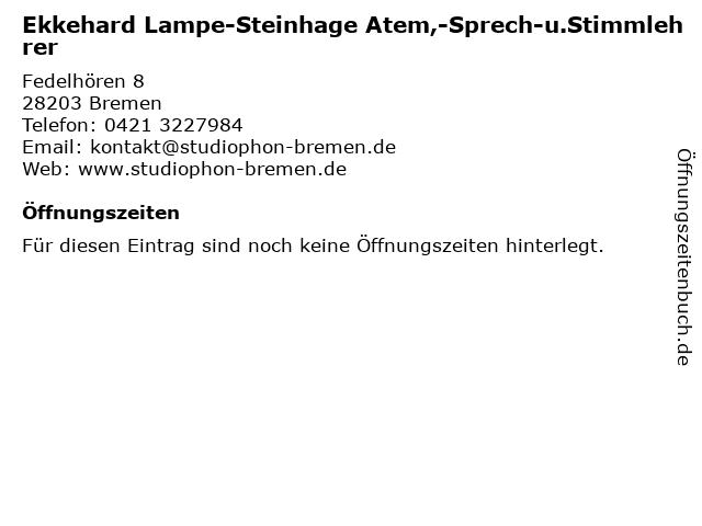 Ekkehard Lampe-Steinhage Atem,-Sprech-u.Stimmlehrer in Bremen: Adresse und Öffnungszeiten