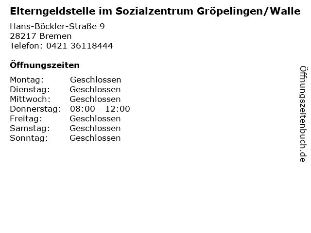 Elterngeldstelle im Sozialzentrum Gröpelingen/Walle in Bremen: Adresse und Öffnungszeiten