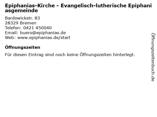 Gemeindebüro der Epiphaniasgemeinde in Bremen: Adresse und Öffnungszeiten