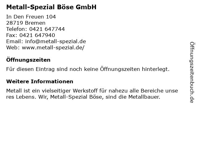 Erich Böse Stahl- und Metallbau GmbH in Bremen: Adresse und Öffnungszeiten