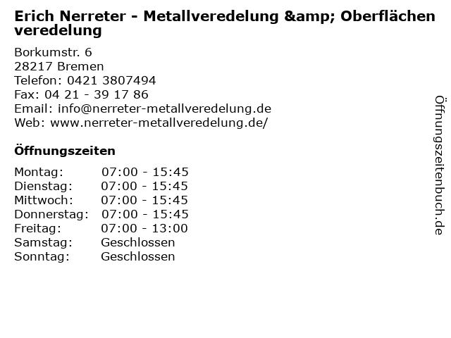 Erich Nerreter - Metallveredelung & Oberflächenveredelung in Bremen: Adresse und Öffnungszeiten