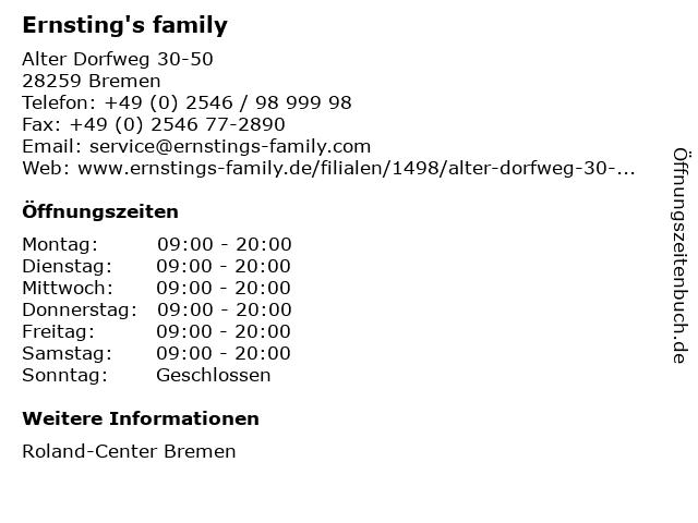 Ernsting's family in Bremen: Adresse und Öffnungszeiten