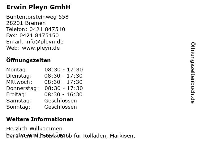 Erwin Pleyn GmbH in Bremen: Adresse und Öffnungszeiten