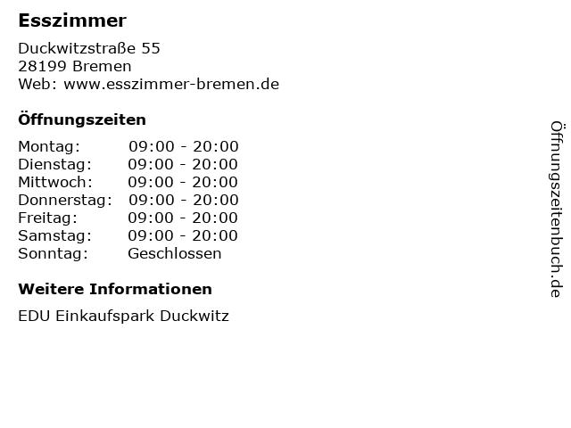 ᐅ öffnungszeiten Esszimmer Duckwitzstraße 55 In Bremen