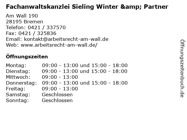 Fachanwaltskanzlei Sieling Winter & Partner in Bremen: Adresse und Öffnungszeiten