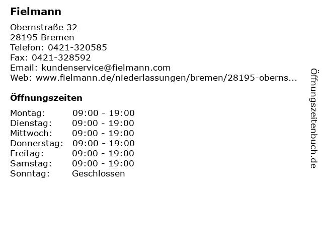 Fielmann in Bremen: Adresse und Öffnungszeiten