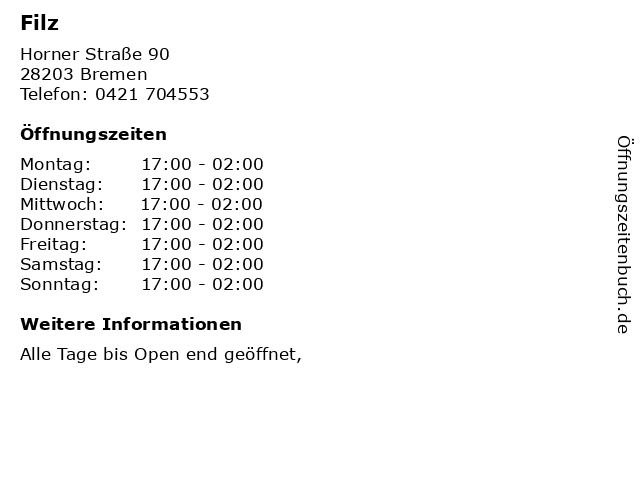 Filz in Bremen: Adresse und Öffnungszeiten