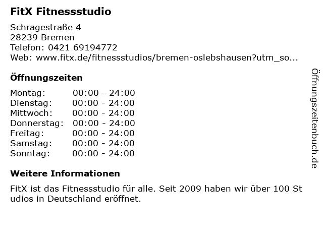 FitX Deutschland GmbH in Bremen: Adresse und Öffnungszeiten