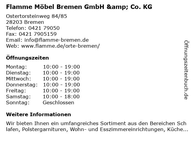ᐅ Offnungszeiten Flamme Mobel Bremen Gmbh Co Kg