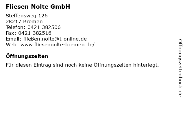 Fliesen Nolte GmbH in Bremen: Adresse und Öffnungszeiten
