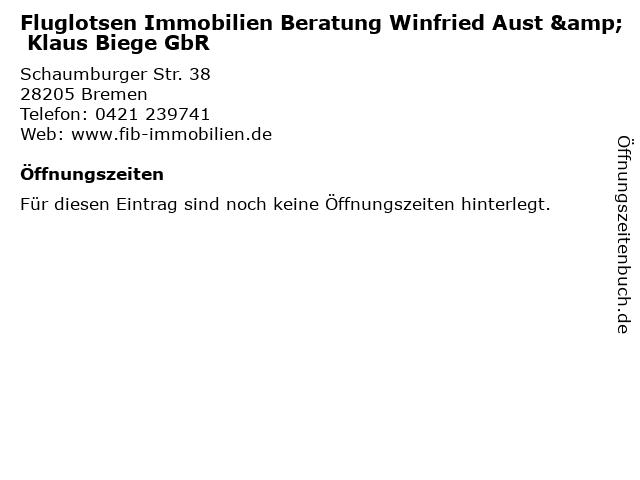 Fluglotsen Immobilien Beratung Winfried Aust & Klaus Biege GbR in Bremen: Adresse und Öffnungszeiten