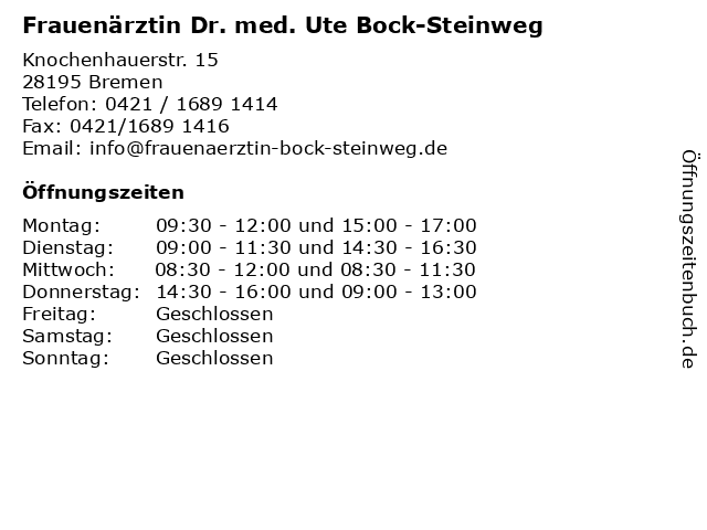 Frauenärztin Dr. med. Ute Bock-Steinweg in Bremen: Adresse und Öffnungszeiten