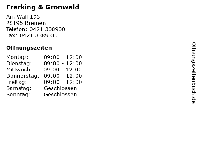 Frerking & Gronwald in Bremen: Adresse und Öffnungszeiten