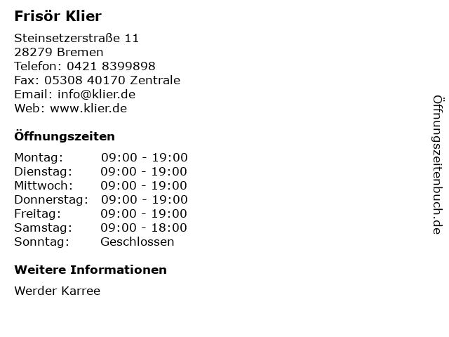 Frisör Klier GmbH in Bremen: Adresse und Öffnungszeiten