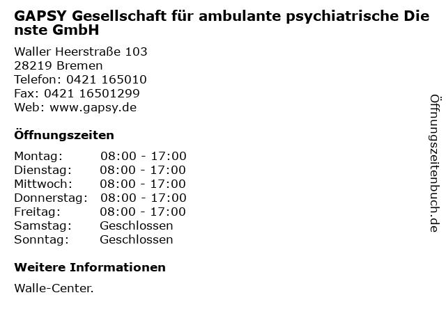 GAPSY Gesellschaft für ambulante psychiatrische Dienste GmbH in Bremen: Adresse und Öffnungszeiten