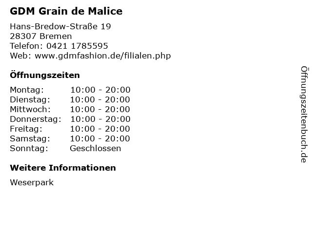GDM Grain de Malice in Bremen: Adresse und Öffnungszeiten