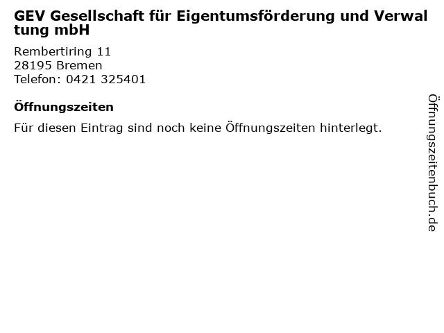 GEV Gesellschaft für Eigentumsförderung und Verwaltung mbH in Bremen: Adresse und Öffnungszeiten