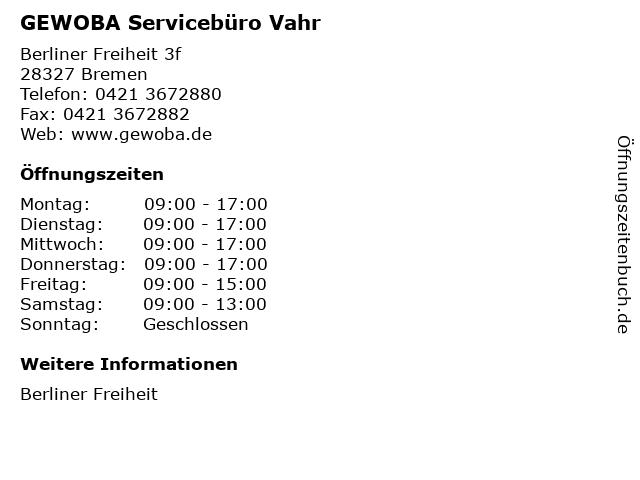 GEWOBA Servicebüro Vahr in Bremen: Adresse und Öffnungszeiten