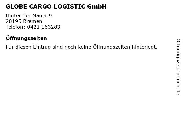 GLOBE CARGO LOGISTIC GmbH in Bremen: Adresse und Öffnungszeiten