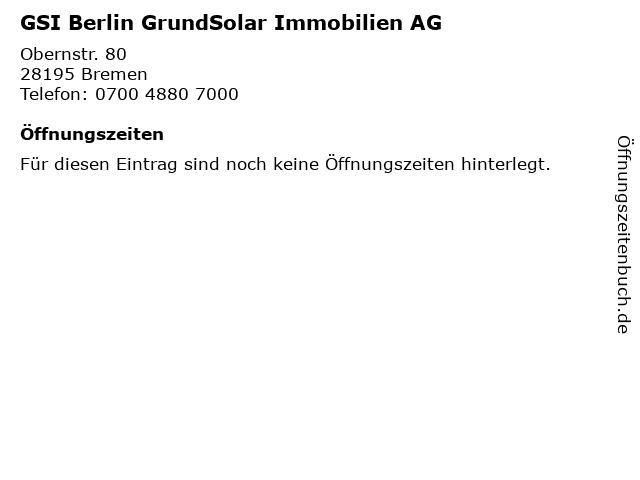 GSI Berlin GrundSolar Immobilien AG in Bremen: Adresse und Öffnungszeiten