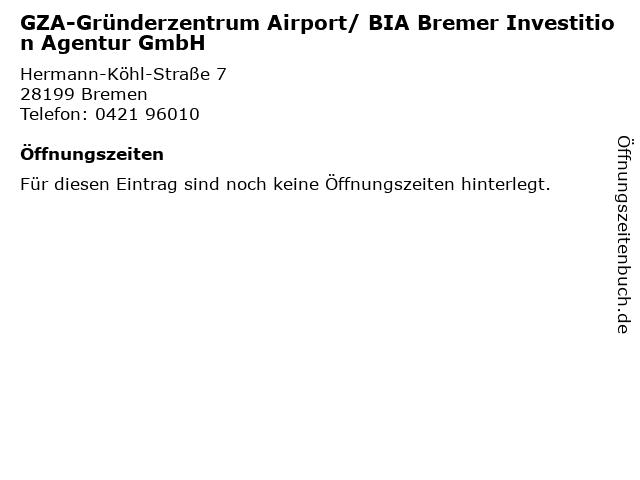 GZA-Gründerzentrum Airport/ BIA Bremer Investition Agentur GmbH in Bremen: Adresse und Öffnungszeiten