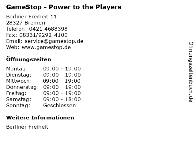 GameStop - Power to the Players in Bremen: Adresse und Öffnungszeiten