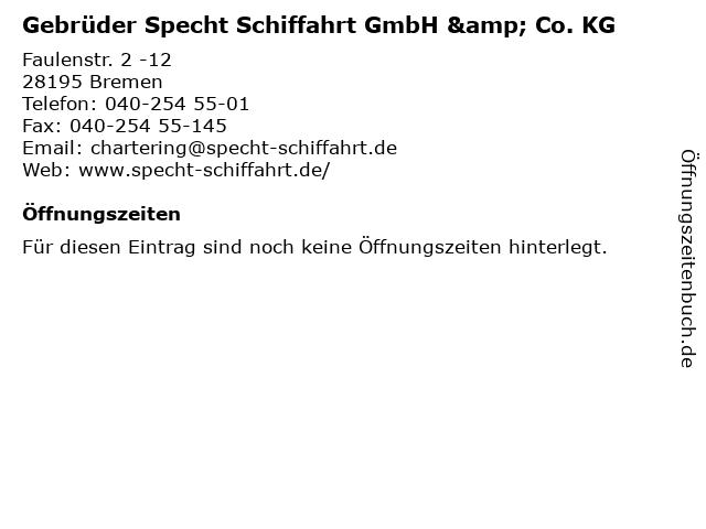 Gebrüder Specht Schiffahrt GmbH & Co. KG in Bremen: Adresse und Öffnungszeiten