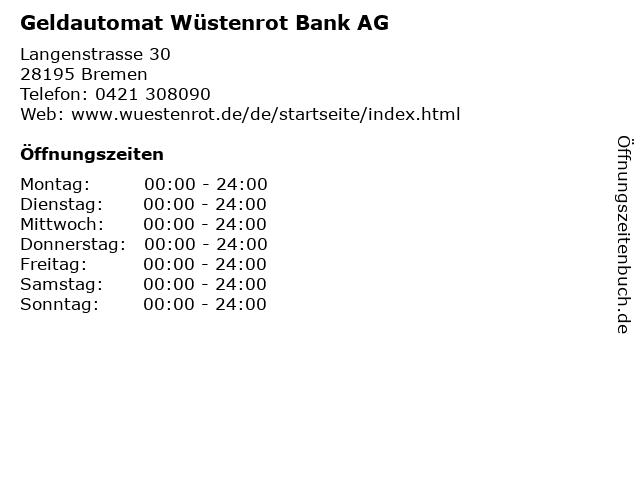 Geldautomat Wüstenrot Bank AG in Bremen: Adresse und Öffnungszeiten