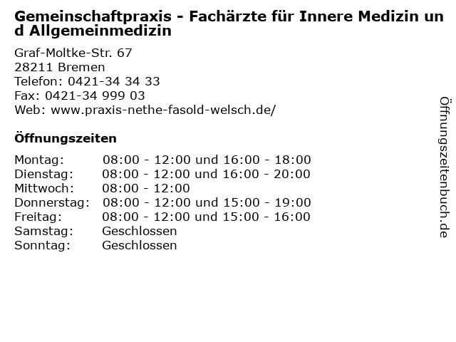 Gemeinschaftpraxis - Fachärzte für Innere Medizin und Allgemeinmedizin in Bremen: Adresse und Öffnungszeiten