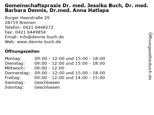Dr. med. Barbara Dennis in Bremen: Adresse und Öffnungszeiten