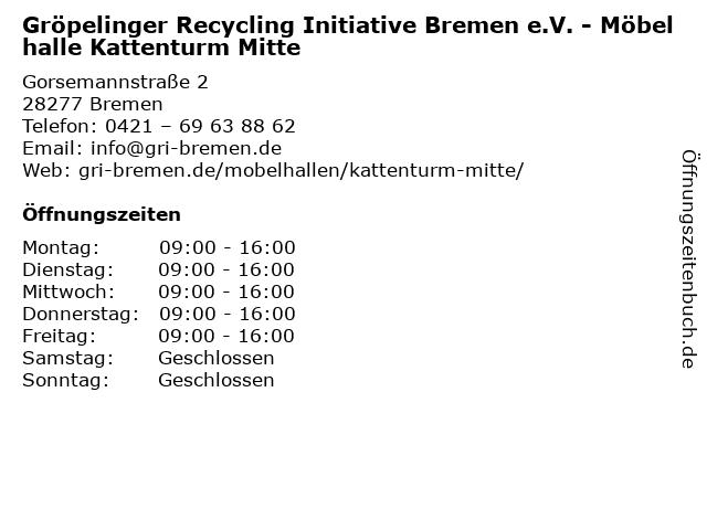 Gröpelinger Recycling Initiative Bremen e.V. - Möbelhalle Kattenturm Mitte in Bremen: Adresse und Öffnungszeiten