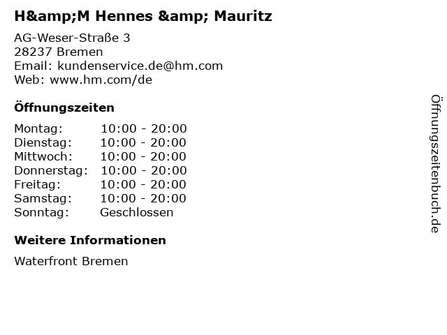 H&M Hennes & Mauritz in Bremen: Adresse und Öffnungszeiten