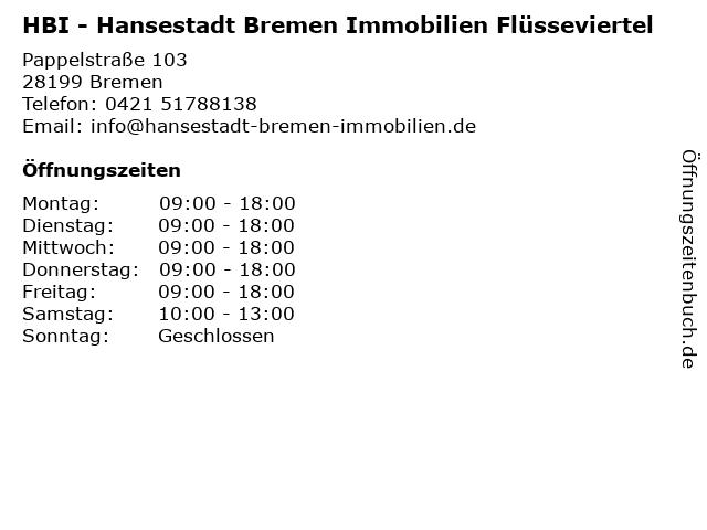 HBI - Hansestadt Bremen Immobilien Flüsseviertel in Bremen: Adresse und Öffnungszeiten
