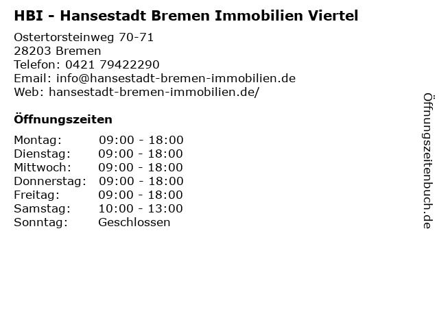 HBI - Hansestadt Bremen Immobilien Viertel in Bremen: Adresse und Öffnungszeiten