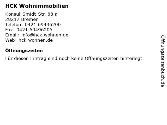 HCK Wohnimmobilien in Bremen: Adresse und Öffnungszeiten