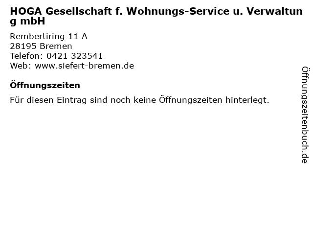 HOGA Gesellschaft f. Wohnungs-Service u. Verwaltung mbH in Bremen: Adresse und Öffnungszeiten