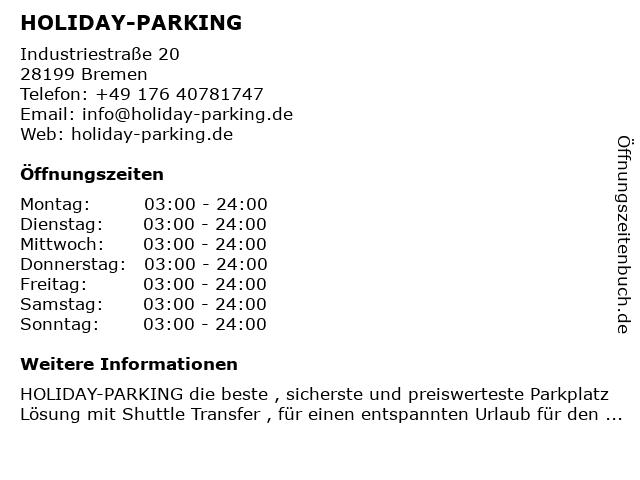 HOLIDAY-PARKING in Bremen: Adresse und Öffnungszeiten