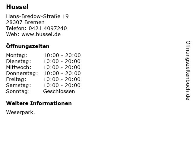 HUSSEL Süßwaren Fachgeschäfte GmbH in Bremen: Adresse und Öffnungszeiten