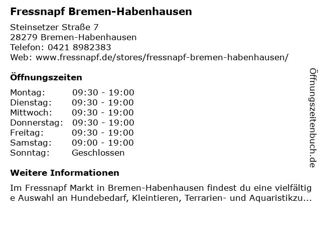 Fressnapf Bremen-Habenhausen in Bremen: Adresse und Öffnungszeiten
