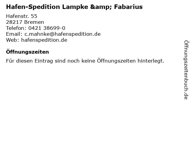 Hafen-Spedition Lampke & Fabarius in Bremen: Adresse und Öffnungszeiten