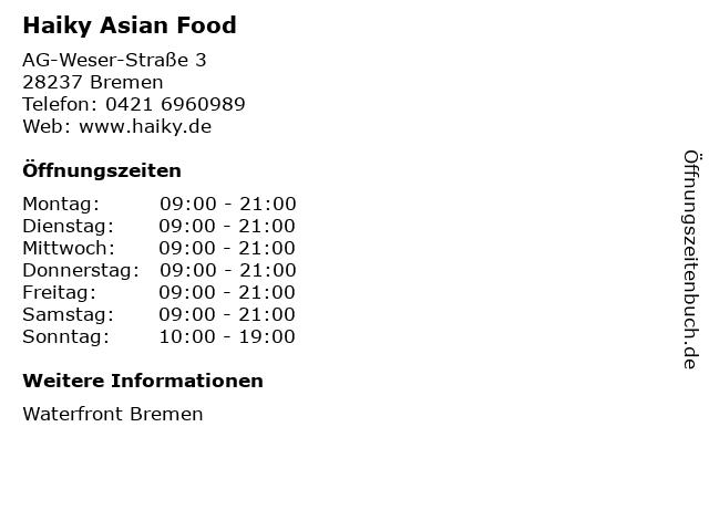 Haiky Asian Food in Bremen: Adresse und Öffnungszeiten