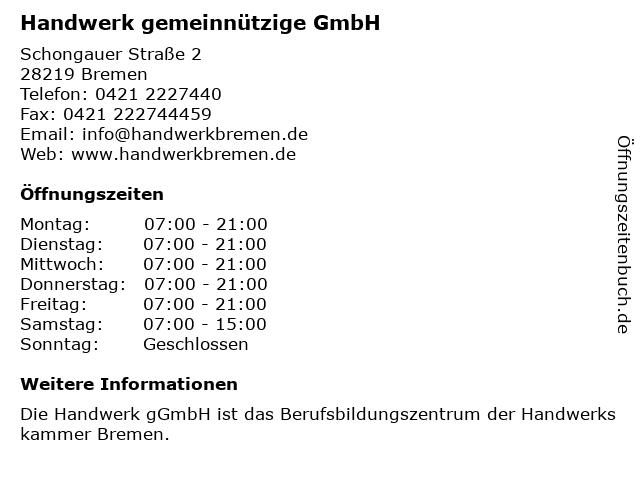 HandWERK gemeinnützige GmbH - Verwaltung in Bremen: Adresse und Öffnungszeiten