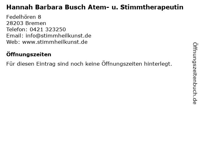 Hannah Barbara Busch Atem- u. Stimmtherapeutin in Bremen: Adresse und Öffnungszeiten
