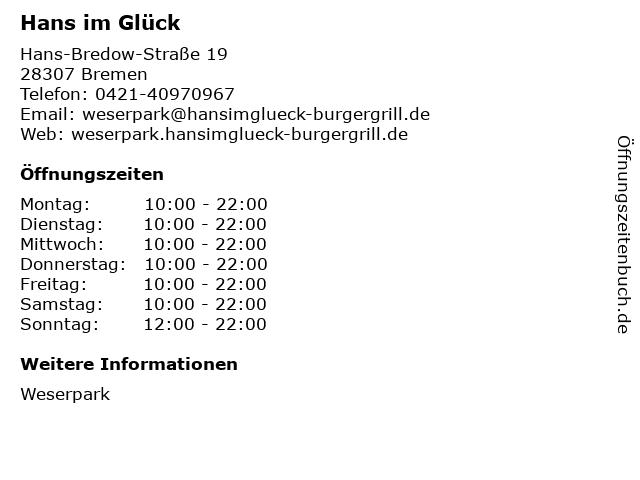Hans im Glück in Bremen: Adresse und Öffnungszeiten