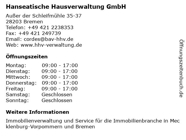 Hanseatische Hausverwaltung GmbH in Bremen: Adresse und Öffnungszeiten