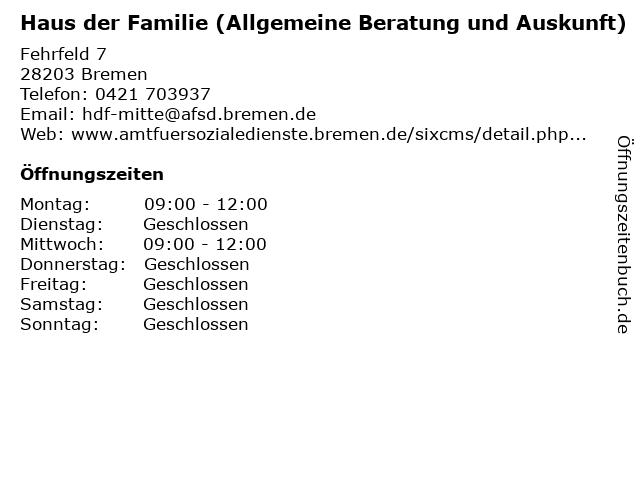 Haus der Familie (Allgemeine Beratung und Auskunft) in Bremen: Adresse und Öffnungszeiten